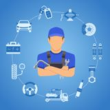 O carro presta serviços de manutenção ao conceito ilustração royalty free