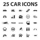 O carro, repara 25 ícones simples pretos ajustados para a Web Fotografia de Stock Royalty Free