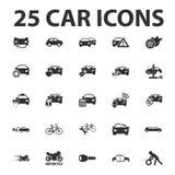 O carro, repara 25 ícones simples pretos ajustados para a Web Fotografia de Stock
