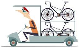 O carro técnico da ajuda do ciclo transporta as bicicletas isoladas ilustração stock