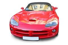 O carro vermelho dos esportes é isolado Fotos de Stock