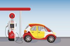 O carro vermelho na gasolina e a gasolina abastecem a estação Ilustração dos desenhos animados do vetor ilustração stock
