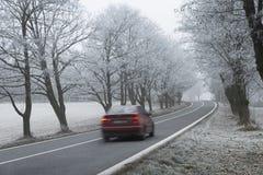 O carro vermelho na paisagem congelada do inverno Fotografia de Stock Royalty Free