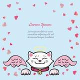 O cartão bonito com gato branco, anjo cor-de-rosa voa Fotos de Stock Royalty Free