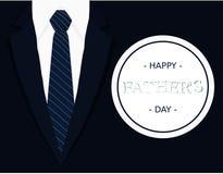 O cartão caligráfico da bandeira do dia de pais com obscuridade - luz azul do laço - camisa do branco cinzento e blazer de azuis  ilustração royalty free