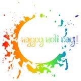 O cartão colorido com arco-íris caótico espirra e borra Festival das cores Holi Imagem de Stock