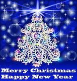 O cartão com árvore de abeto fez o ‹do †do ‹do †das pedras preciosas Imagem de Stock Royalty Free