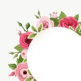 O cartão com as rosas, lisianthuses e o ranúnculo vermelhos e cor-de-rosa floresce Vetor EPS-10 Imagens de Stock