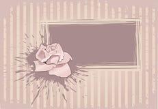 O cartão com cor-de-rosa levantou-se ilustração do vetor