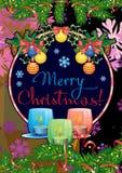 O cartão com ramos do pinho, festão do feriado do Natal, iluminou velas e Feliz Natal do ` do texto do cumprimento do feriado! ` ilustração stock