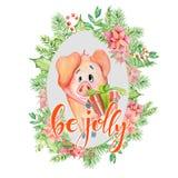 O cartão da aquarela do Feliz Natal com o porco engraçado bonito em citações florais da grinalda e da rotulação seja alegre ilustração stock