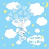 O cartão da festa do bebê com a mosca bonito do coelho do bebê com amor balloons no fundo azul para a parede do berçário do bebê, Imagem de Stock