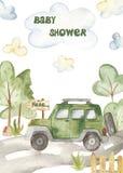 O cartão das crianças congratulatório da aquarela para um menino com um transporte da cidade ilustração stock