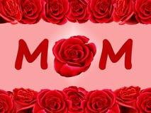 O cartão de aniversário ao mum com um vermelho levantou-se Fotos de Stock