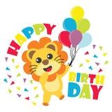 O cartão de aniversário com leão bonito traz a ilustração dos desenhos animados dos balões para o convite do aniversário da crian Foto de Stock