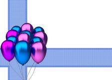 O cartão de aniversário com partido azul e purble balloons Imagens de Stock