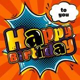 O cartão de aniversário na banda desenhada do estilo e o discurso borbulham Vetor Fotografia de Stock