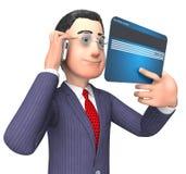 O cartão de crédito representa a rendição de Person And Buy 3d do negócio Imagem de Stock Royalty Free