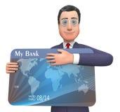 O cartão de crédito significa a rendição de Person And Bank 3d do negócio Foto de Stock