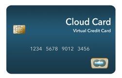O cartão de crédito virtual é sabido igualmente como um cartão da nuvem ou o cartão de crédito digital Mostra-se isolado no fundo ilustração royalty free