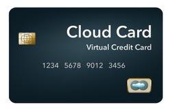 O cartão de crédito virtual é sabido igualmente como um cartão da nuvem ou o cartão de crédito digital Mostra-se isolado no fundo ilustração do vetor