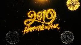 O cartão de cumprimentos dos desejos do ano novo feliz 2019, convite, fogo de artifício da celebração deu laços