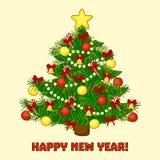 O cartão de Natal com árvore e o ano novo feliz text Ilustração do vetor Fotografia de Stock Royalty Free