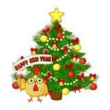 O cartão de Natal com galo, a árvore e o ano novo feliz text Ilustração do vetor Imagem de Stock Royalty Free
