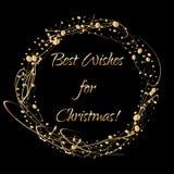 O cartão de Natal com a grinalda do sumário do ouro dá forma no espaço escuro do fundo e da cópia para seus desejos Fotografia de Stock Royalty Free