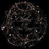 O cartão de Natal com a grinalda do sumário do ouro dá forma no espaço escuro do fundo e da cópia para seus desejos Foto de Stock