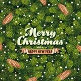 O cartão de Natal um pinho ramifica Imagem de Stock