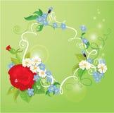 O cartão do aniversário, de dia de Valentim ou de casamento com aumentou Fotografia de Stock