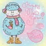 O cartão do ano novo com carneiros dos desenhos animados e o discurso borbulham Fotografia de Stock Royalty Free