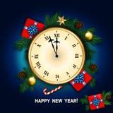 O cartão do ano novo com pulso de disparo, caixa de presente, bastão de doces, pinho ramifica d Imagem de Stock Royalty Free