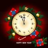 O cartão do ano novo com pulso de disparo, caixa de presente, bastão de doces, pinho ramifica d Fotografia de Stock