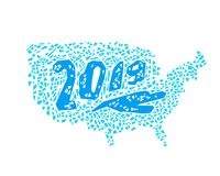 O cartão do ano novo, EUA tirados mão traça Imagem de Stock Royalty Free