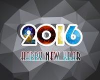 O cartão 2016 do ano novo feliz estilizou o modelo poligonal do triângulo Imagem de Stock