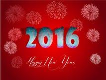 O cartão 2016 do ano novo feliz estilizou o modelo poligonal do triângulo Foto de Stock Royalty Free