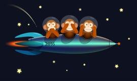 O cartão do ano novo feliz monkeys 2016 Fotos de Stock Royalty Free