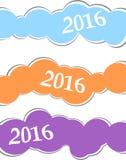 O cartão do ano 2016 novo feliz ou o fundo, etiquetas do Natal ajustaram-se no branco ilustração royalty free
