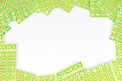 O cartão do Bingo arranja para ter o fundo center do espaço Foto de Stock