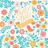 O cartão do convite do casamento com flores, salvar Fotografia de Stock Royalty Free