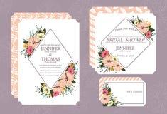 O cartão do convite do casamento imprimiu no estilo do vintage no cartão branco de 5 * 7 polegadas na parte dianteira e na parte  ilustração do vetor