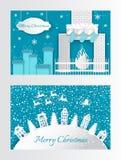 O cartão do corte do papel do ano novo abriga árvores do Xmas ilustração stock