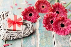 O cartão do dia da mãe ou da mulher com presente ou coração atual e de vime decorou flores bonitas da margarida do gerbera na par Imagem de Stock