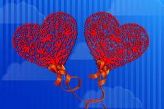 O cartão do dia de Valentim para dois corações dos amantes está voando através do céu ilustração do vetor