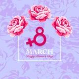 O cartão do dia de Women's com aumentou Imagem de Stock
