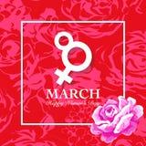 O cartão do dia de Women's com aumentou Fotos de Stock