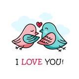 O cartão do dia do amor e de Valentim com pares de pássaros bonitos e o coração vector o cartaz do fundo no branco ilustração do vetor