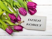 O cartão do dia do ` s das mulheres com polonês exprime DZIEŃ KOBIET Fotografia de Stock Royalty Free